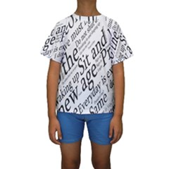 Abstract Minimalistic Text Typography Grayscale Focused Into Newspaper Kids  Short Sleeve Swimwear