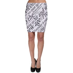 Abstract Minimalistic Text Typography Grayscale Focused Into Newspaper Bodycon Skirt