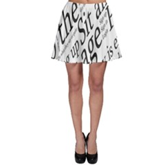 Abstract Minimalistic Text Typography Grayscale Focused Into Newspaper Skater Skirt