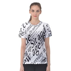 Abstract Minimalistic Text Typography Grayscale Focused Into Newspaper Women s Sport Mesh Tee