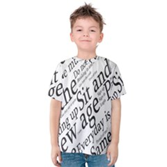 Abstract Minimalistic Text Typography Grayscale Focused Into Newspaper Kids  Cotton Tee