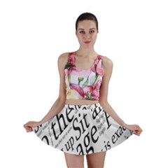 Abstract Minimalistic Text Typography Grayscale Focused Into Newspaper Mini Skirt