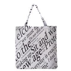Abstract Minimalistic Text Typography Grayscale Focused Into Newspaper Grocery Tote Bag