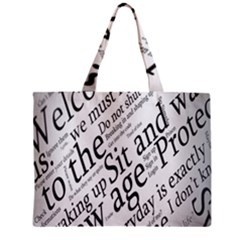 Abstract Minimalistic Text Typography Grayscale Focused Into Newspaper Mini Tote Bag