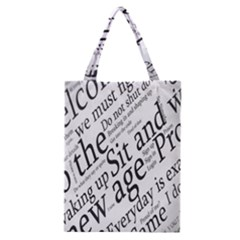Abstract Minimalistic Text Typography Grayscale Focused Into Newspaper Classic Tote Bag