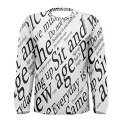 Abstract Minimalistic Text Typography Grayscale Focused Into Newspaper Men s Long Sleeve Tee