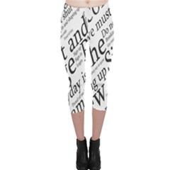Abstract Minimalistic Text Typography Grayscale Focused Into Newspaper Capri Leggings