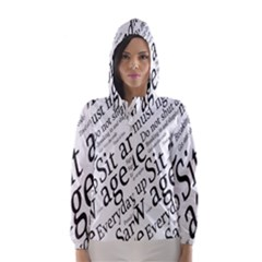 Abstract Minimalistic Text Typography Grayscale Focused Into Newspaper Hooded Wind Breaker (Women)