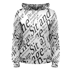 Abstract Minimalistic Text Typography Grayscale Focused Into Newspaper Women s Pullover Hoodie