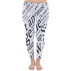Abstract Minimalistic Text Typography Grayscale Focused Into Newspaper Classic Winter Leggings