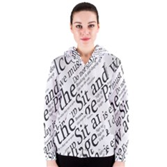 Abstract Minimalistic Text Typography Grayscale Focused Into Newspaper Women s Zipper Hoodie