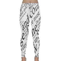 Abstract Minimalistic Text Typography Grayscale Focused Into Newspaper Classic Yoga Leggings