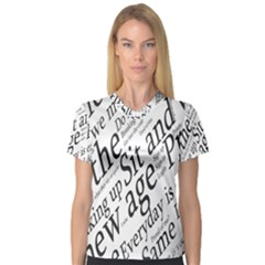 Abstract Minimalistic Text Typography Grayscale Focused Into Newspaper Women s V-Neck Sport Mesh Tee