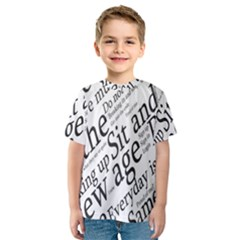 Abstract Minimalistic Text Typography Grayscale Focused Into Newspaper Kids  Sport Mesh Tee