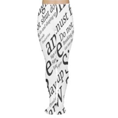 Abstract Minimalistic Text Typography Grayscale Focused Into Newspaper Women s Tights