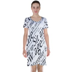 Abstract Minimalistic Text Typography Grayscale Focused Into Newspaper Short Sleeve Nightdress