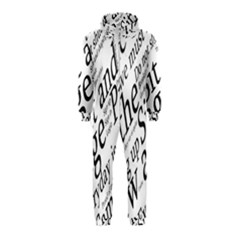 Abstract Minimalistic Text Typography Grayscale Focused Into Newspaper Hooded Jumpsuit (Kids)