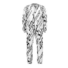 Abstract Minimalistic Text Typography Grayscale Focused Into Newspaper Onepiece Jumpsuit (kids)