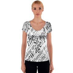 Abstract Minimalistic Text Typography Grayscale Focused Into Newspaper Women s V-Neck Cap Sleeve Top