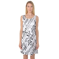 Abstract Minimalistic Text Typography Grayscale Focused Into Newspaper Sleeveless Satin Nightdress