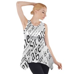Abstract Minimalistic Text Typography Grayscale Focused Into Newspaper Side Drop Tank Tunic