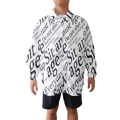 Abstract Minimalistic Text Typography Grayscale Focused Into Newspaper Wind Breaker (Kids)