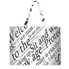 Abstract Minimalistic Text Typography Grayscale Focused Into Newspaper Zipper Large Tote Bag