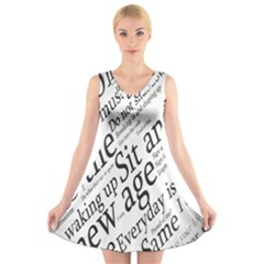 Abstract Minimalistic Text Typography Grayscale Focused Into Newspaper V Neck Sleeveless Skater Dress
