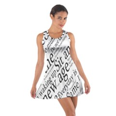 Abstract Minimalistic Text Typography Grayscale Focused Into Newspaper Cotton Racerback Dress