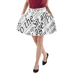 Abstract Minimalistic Text Typography Grayscale Focused Into Newspaper A-Line Pocket Skirt
