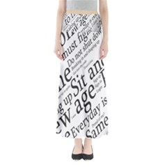 Abstract Minimalistic Text Typography Grayscale Focused Into Newspaper Maxi Skirts