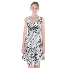 Abstract Minimalistic Text Typography Grayscale Focused Into Newspaper Racerback Midi Dress
