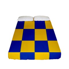 Flag Plaid Blue Yellow Fitted Sheet (full/ Double Size)