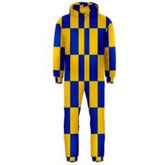 Flag Plaid Blue Yellow Hooded Jumpsuit (men)