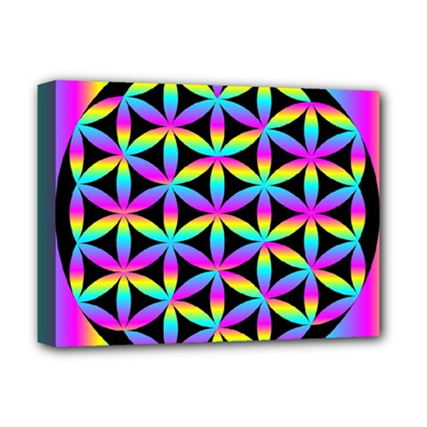 Flower Of Life Gradient Fill Black Circle Plain Deluxe Canvas 16  x 12