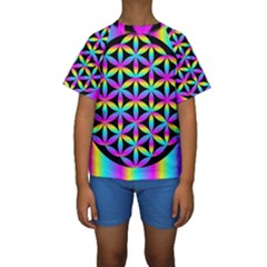 Flower Of Life Gradient Fill Black Circle Plain Kids  Short Sleeve Swimwear