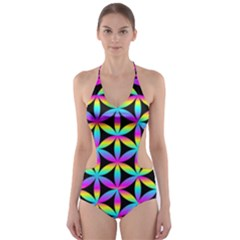 Flower Of Life Gradient Fill Black Circle Plain Cut-Out One Piece Swimsuit