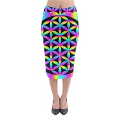 Flower Of Life Gradient Fill Black Circle Plain Midi Pencil Skirt