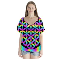 Flower Of Life Gradient Fill Black Circle Plain Flutter Sleeve Top