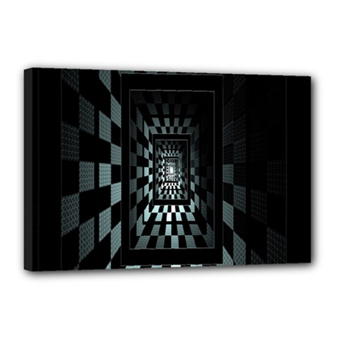 Optical Illusion Square Abstract Geometry Canvas 18  X 12