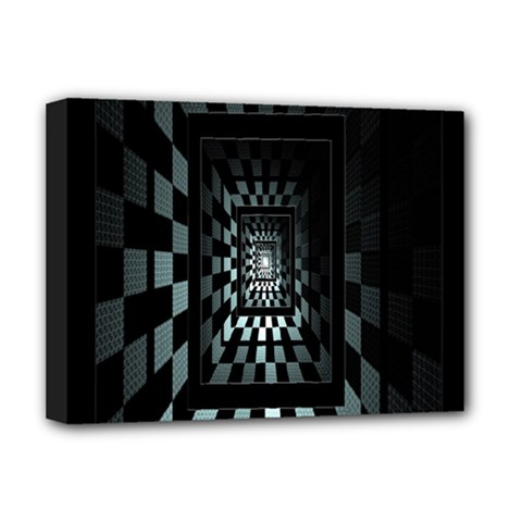 Optical Illusion Square Abstract Geometry Deluxe Canvas 16  x 12