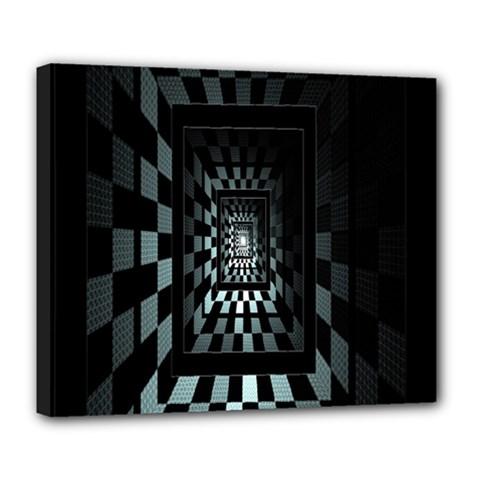 Optical Illusion Square Abstract Geometry Deluxe Canvas 24  x 20