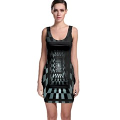 Optical Illusion Square Abstract Geometry Sleeveless Bodycon Dress