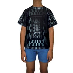 Optical Illusion Square Abstract Geometry Kids  Short Sleeve Swimwear
