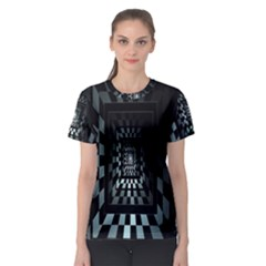 Optical Illusion Square Abstract Geometry Women s Sport Mesh Tee