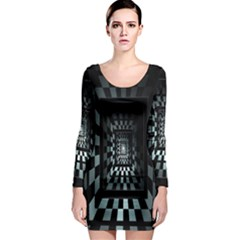 Optical Illusion Square Abstract Geometry Long Sleeve Bodycon Dress