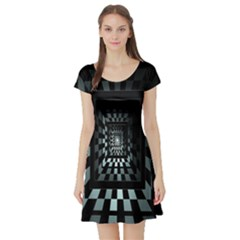 Optical Illusion Square Abstract Geometry Short Sleeve Skater Dress