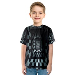 Optical Illusion Square Abstract Geometry Kids  Sport Mesh Tee