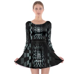 Optical Illusion Square Abstract Geometry Long Sleeve Skater Dress