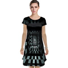 Optical Illusion Square Abstract Geometry Cap Sleeve Nightdress